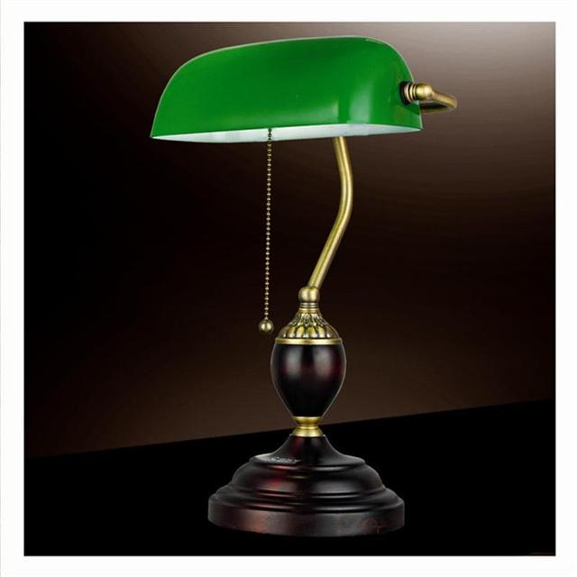 Retro Table Lights Emerald Green Glass Power Bank Office Desk Lamp Red Wood  Vintage Reading Light