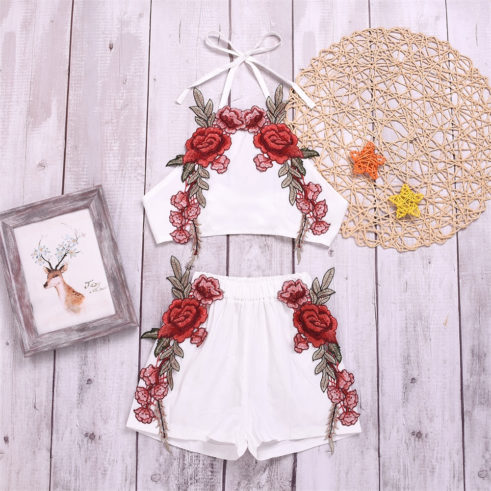 2019 New Kids Baby Girl Clothes Set Embroidery Flower Tank Top Shorts Casual Kids Clothes Toddler Summer Outfit Boutique 0 3 Y in Clothing Sets from Mother Kids