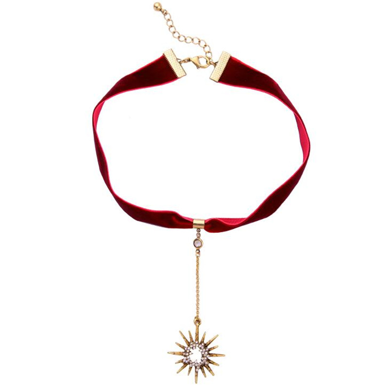 Red Velvet New Charms Fashion Sun Tattoo Choker Necklace For Women Cool Collar Jewelry Factory Wholesale