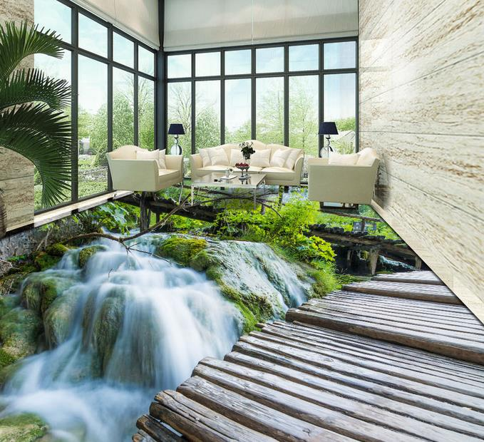 ФОТО custom 3d floor murals waterproof wall paper self adhesive 3d flooring waterfall bedroom wallpaper 3d floor tiles