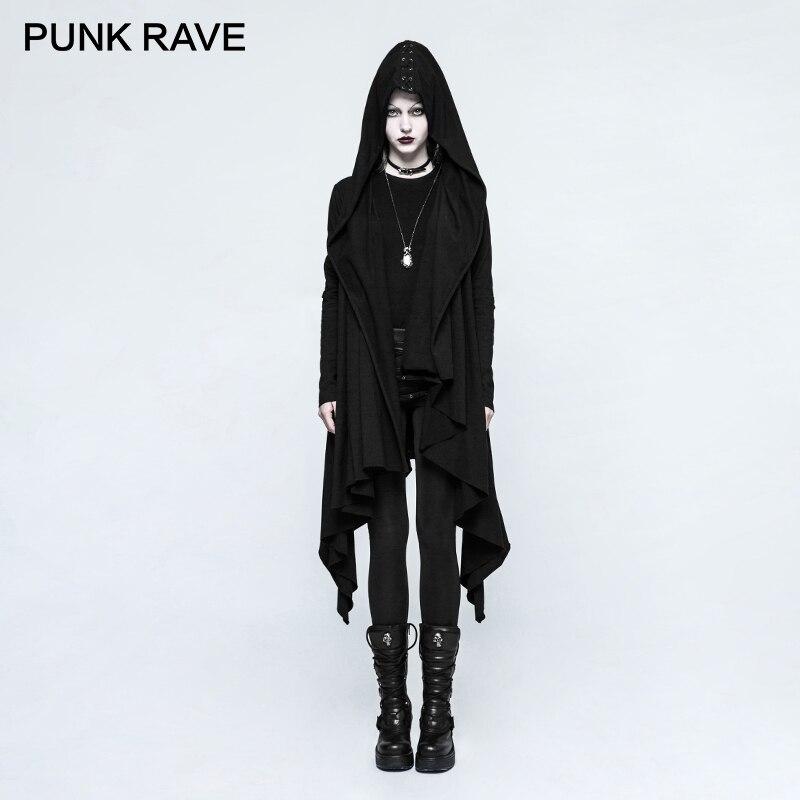 PUNK RAVE Gothic Women Black Knitted Hooded Sweat Jacket Asymmetrical Placket Sleeve Hole Eyelet Draw String Coat Harajuku Party