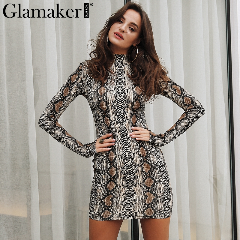 Glamaker Sexy snake print summer women dress Turtleneck long sleeve bodycon short party dress Elegant spring female club dress Платье