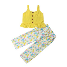 Summer Toddlers Kids Baby Girls Clothes Sleeveless Sling Tops Long Pants Leggings Outfits Sunsuit Sets