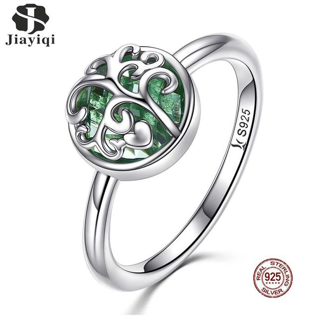 Jiayiqi Original 925 Sterling Silver Ring Tree Of Life Green Zircon Trendy Women Wedding Party Gift New Hand Jewelry Accessories