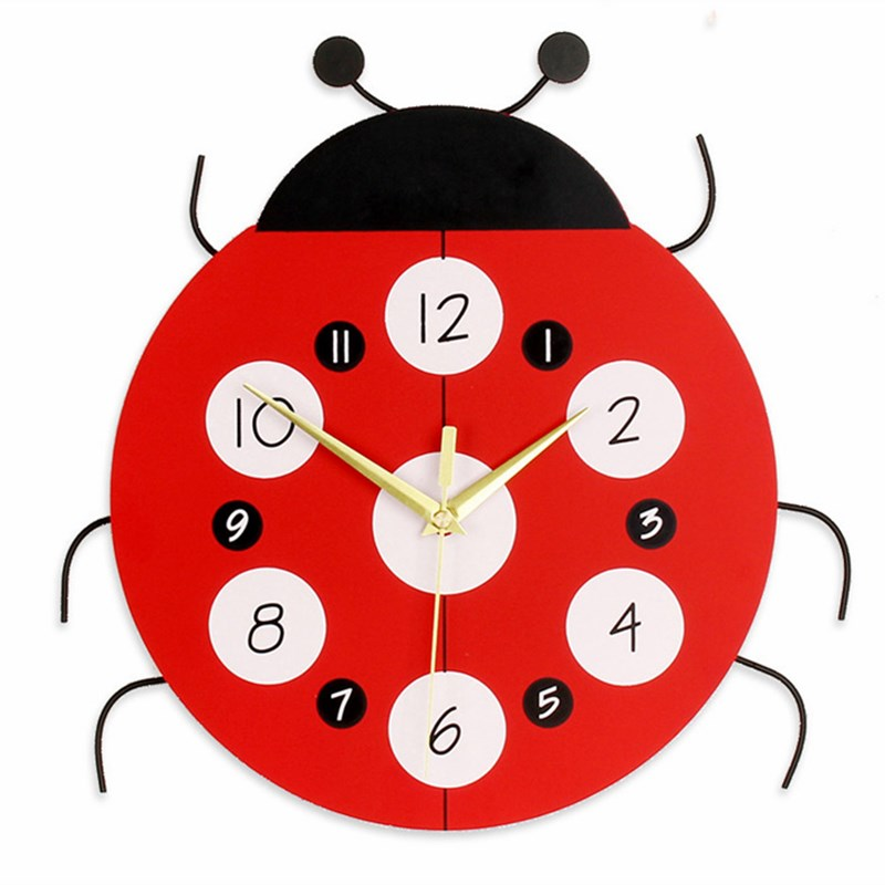 Dessin animé calme horloge murale montre enfant enfants horloges murales bois Design moderne salon unique Face horloges 3d Saat sans batterie