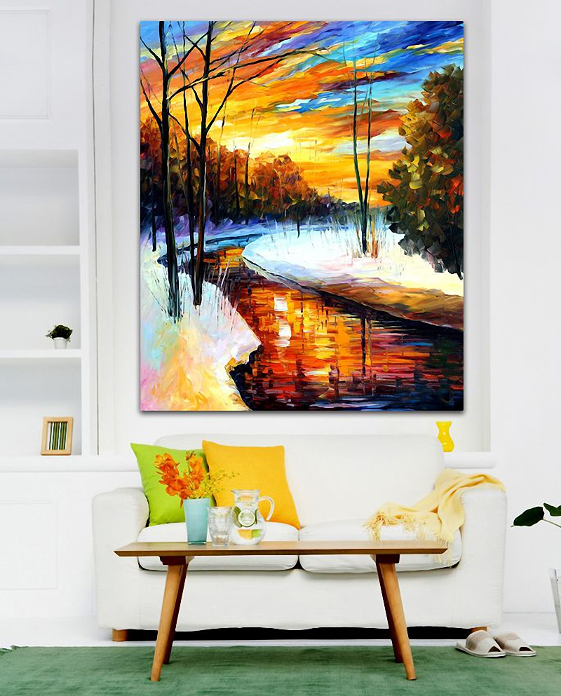 Winter Sunset -Palette Knife Sunsise Landscape Oil Painting Printed On Canvas By Artist