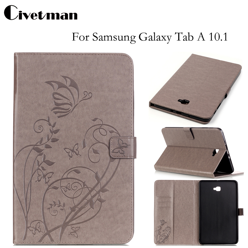 Civetman Cover For Samsung Galaxy Tab A 10 1 inch Leather Stand Embossed Fundas Shell for