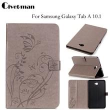 Civetman Cubierta Para Samsung Galaxy Tab de 10.1 pulgadas Del Soporte Del Cuero en relieve Shell Fundas para Galaxy Tab Un T585 T580 SM-T585 T580N