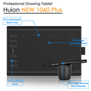 Image 3 - Huion New 1060 Plus Professional Digital Drawing Tablet 8192 Levels Pen Pressure 12 HotKey Graphic Tablets with Two Digital Pens