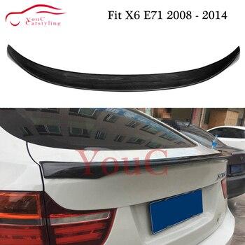 X6 Carbon fiber rear spoiler wing for BMW X6 E71 2008 - 2014 5-door coupe SUV CF Rear Trunk Boot Tail Lip Splitter Spoiler