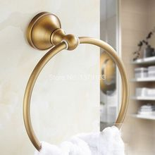 цена на NEW Bathroom Accessory Wall Mounted Antique Bronze Brass Single Circle Towel Ring Towel Rack Holder aba130