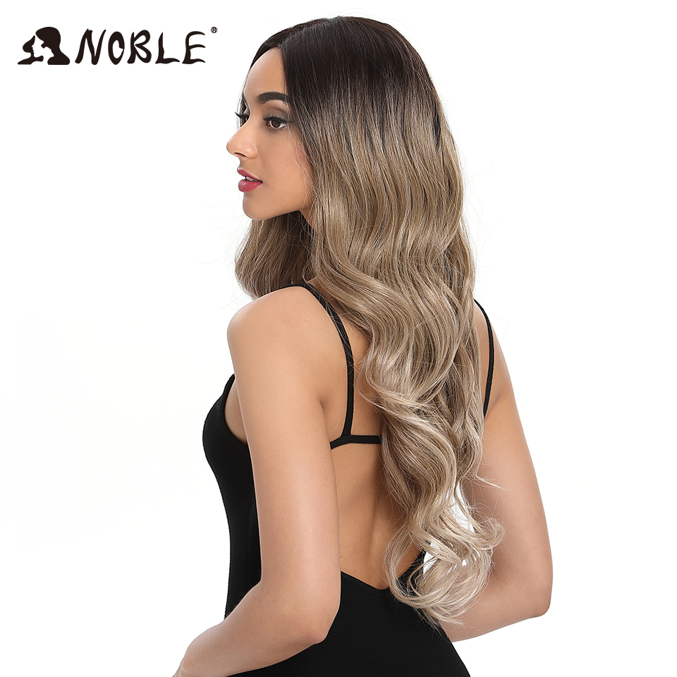 Noble Hair Lace Front Ombre Blonde Wig 30 Inch Lace  Long Wavy 360 Wig Red African American Synthetic Wigs For Black Women