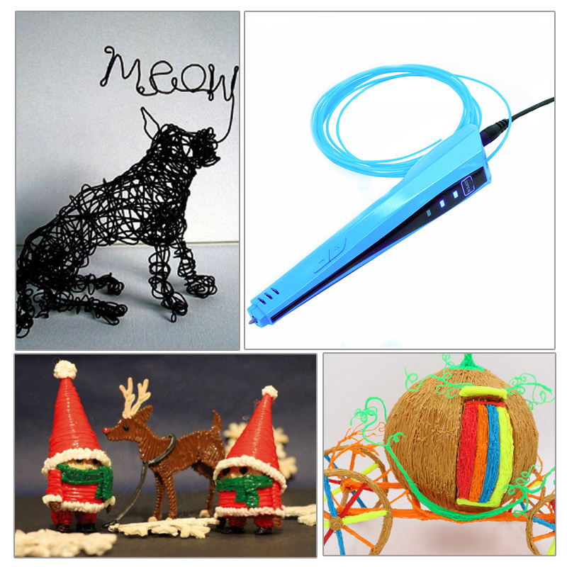 ФОТО DIY 1.75mm Creative Item ABS/PLA Colorful 3D Pen Tool +10M Filament LED 3D Printing Pen Dauber Gift For Lover Kids Drawing