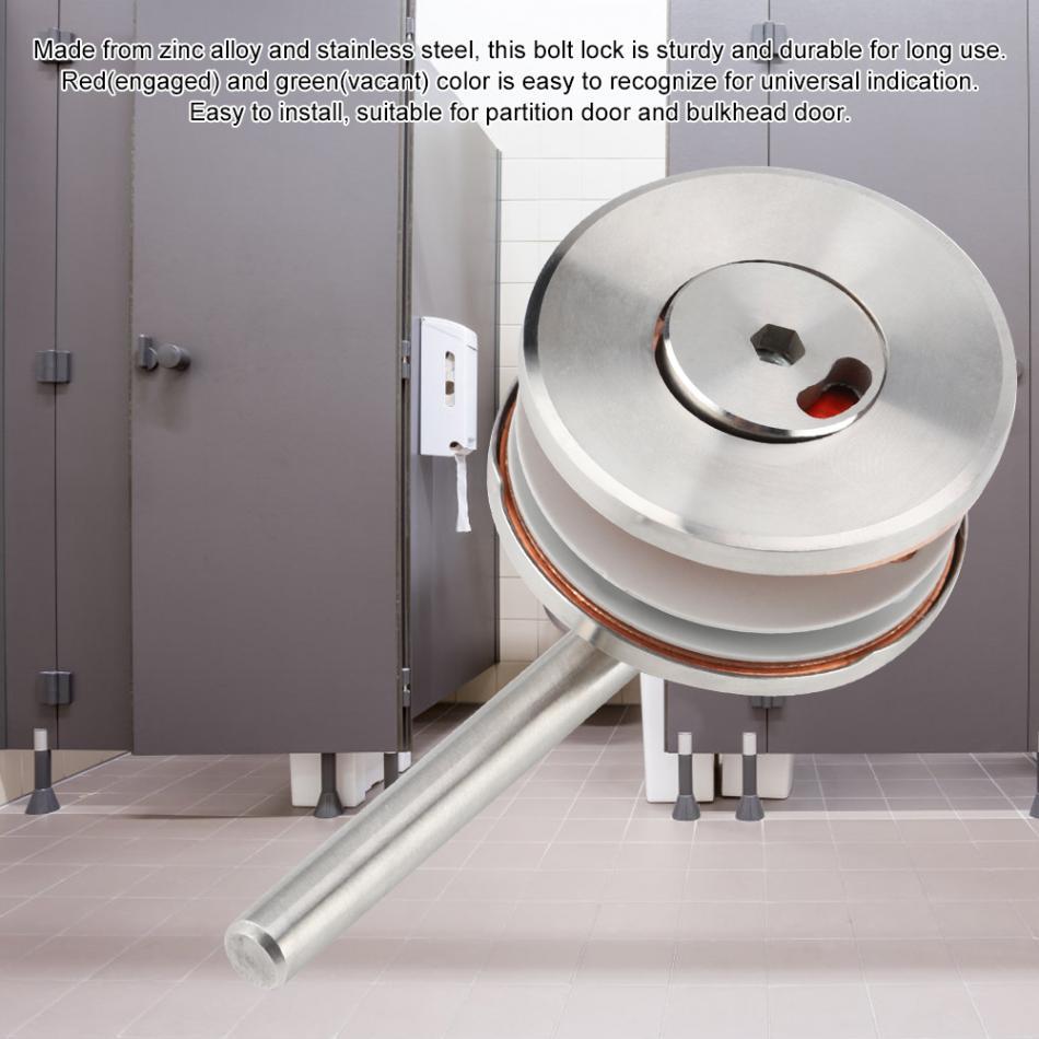 Vacant//Engaged Bathroom Door Lock stainless steel Silver Toilet Indicator Lock