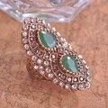 De peru real do projeto verde do Vintage Anel mulheres turcas acessórios gota de água Big Size anéis Bijoux ouro antigo Anel Aneis