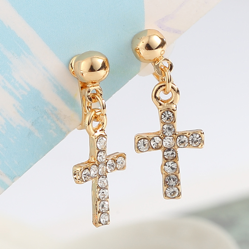 Sale Gifts Korean OL Style Simple Cross Crystals No Pierced Clip Earrings for Women Wedding Bridal