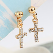 Sale Gifts Korean OL Style  Simple Cross Crystals No Pierced Clip Earrings for Women Wedding Bridal Jewelry