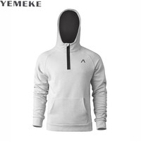 YEMEKE Fashion Hooded Funny Solid Colors Hoodies 2017 Autumn Winter Fitness Streetwear Tracksuits Pullover Sweatshirts