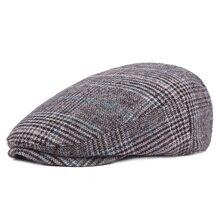 Брендовые Модные Винтажные осенне-зимние головные уборы для мужчин и женщин, повседневные Хлопковые женские береты высокого качества, клетчатые мужские шапки с плоской подошвой