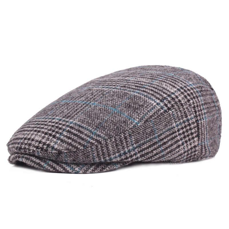 Брендовые Модные Винтажные Осенние Зимние головные уборы для мужчин и женщин, высококачественные повседневные Хлопковые женские береты, Клетчатая Мужская плоская шляпа