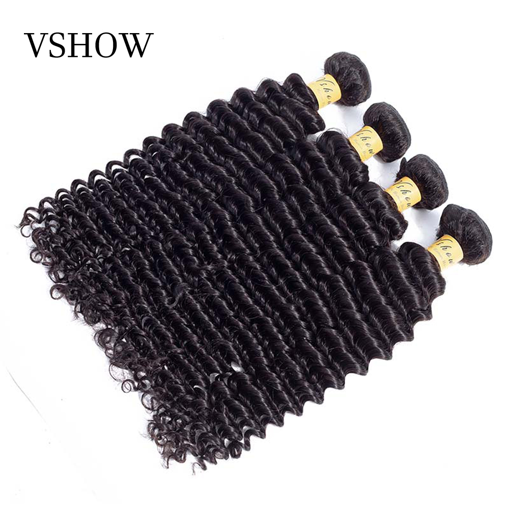 VSHOW Hair Bundles Brazilian Deep Wave Bundles Can Mixed Any Length Natural Color Hair Weave 100
