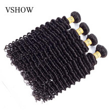 VSHOW Hair Bundles Brazilian Deep Wave Bundles Hair Weave 100% Remy Human Hair Extension Can Mixed Any Length Natural Color(China)