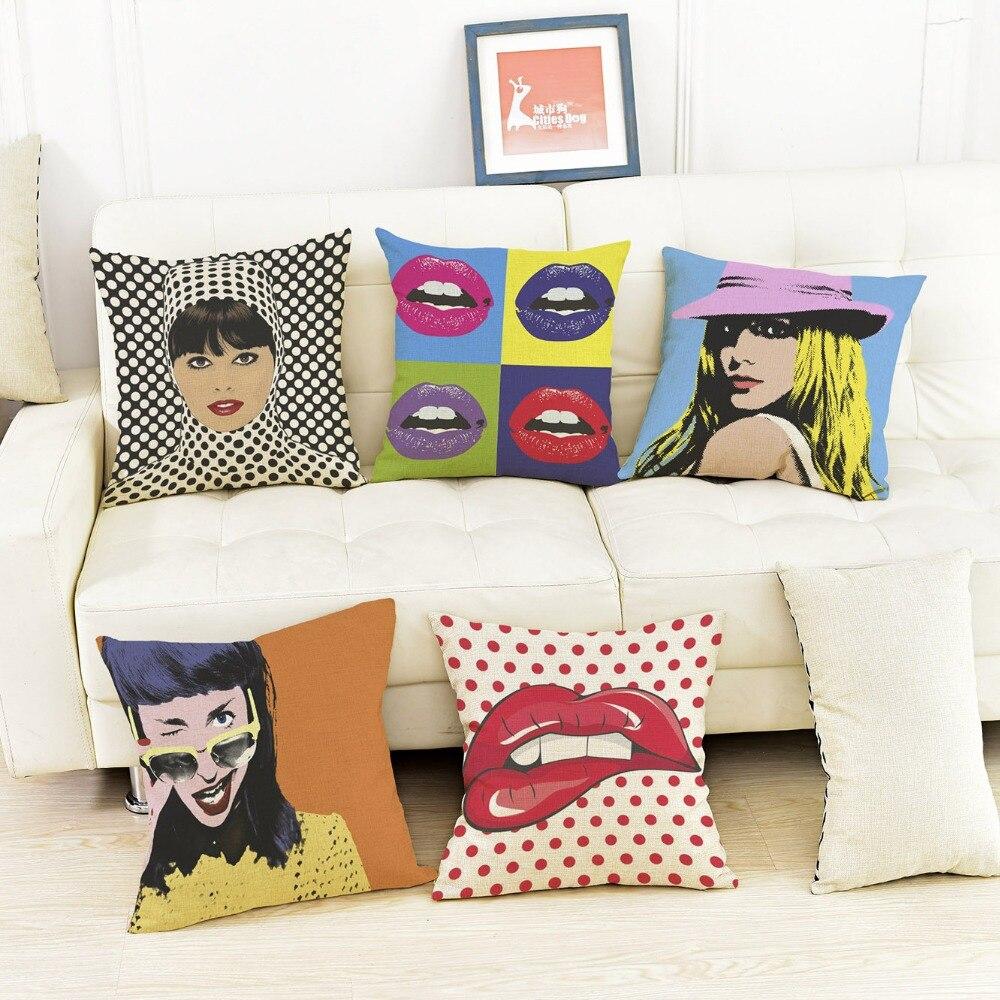 Us 4 88 39 Off Modern Pop Art Lips Printing Home Decoration Throw Pillows Cushion Cotton Linen Sofa Car Chair Pillowcase Almofadas 45x45cm In