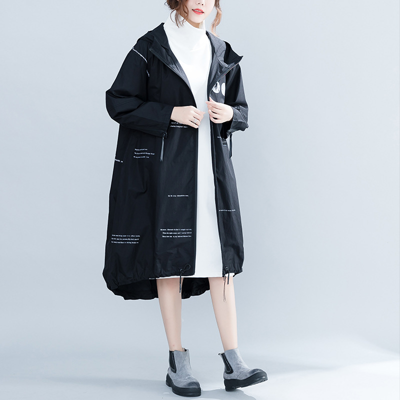 Johnature 2019 Autumn Hooded Collar Long Sleeve Long Cardigan   Trench   New Zippers Letter Print Loose Casual Women Coats
