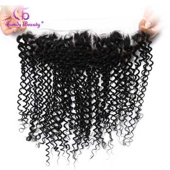 ペルー変態カーリー 2 バンドルレースフロント閉鎖 8-26 インチ非レミー人間の髪のバンドル閉鎖トレンディ美容