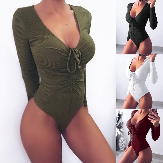 278678cebcf52 Sexy Long Sleeve Deep V Neck Bodycon Bandage Knitted Women Bodysuit Romper  Women Jumpsuit Shorts Body