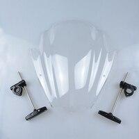 Universal Clear Motorcycle Street Bike Windshield Windscreen 7 8 1 Handlebar Mount For Harley Honda BMW