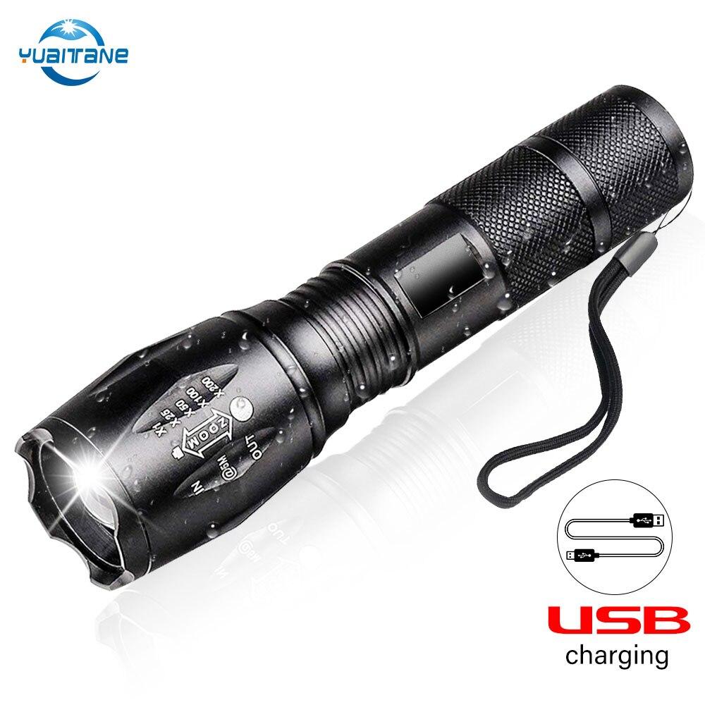 10000 lumen USB Rechargable LED Taschenlampe 3 Modus Taschenlampen LED L2 T6 Taschenlampe Zoomable Flash Licht Lampe Beleuchtung Mit USB kabel