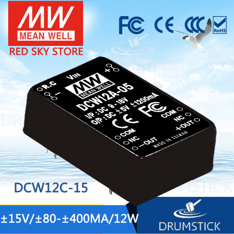 цена на MEAN WELL DCW12C-15 15V 400mA meanwell DCW12 15V 12W DC-DC Regulated Dual Output Converter
