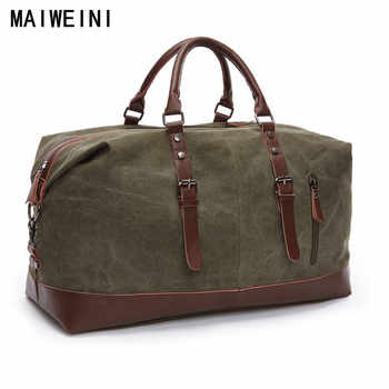 Fashion Canvas Leather Men Travel Bag Large Capacity Men Hand Luggage Travel Duffle Bags Weekend Bags Multifunctional Tote Bag - DISCOUNT ITEM  51% OFF All Category