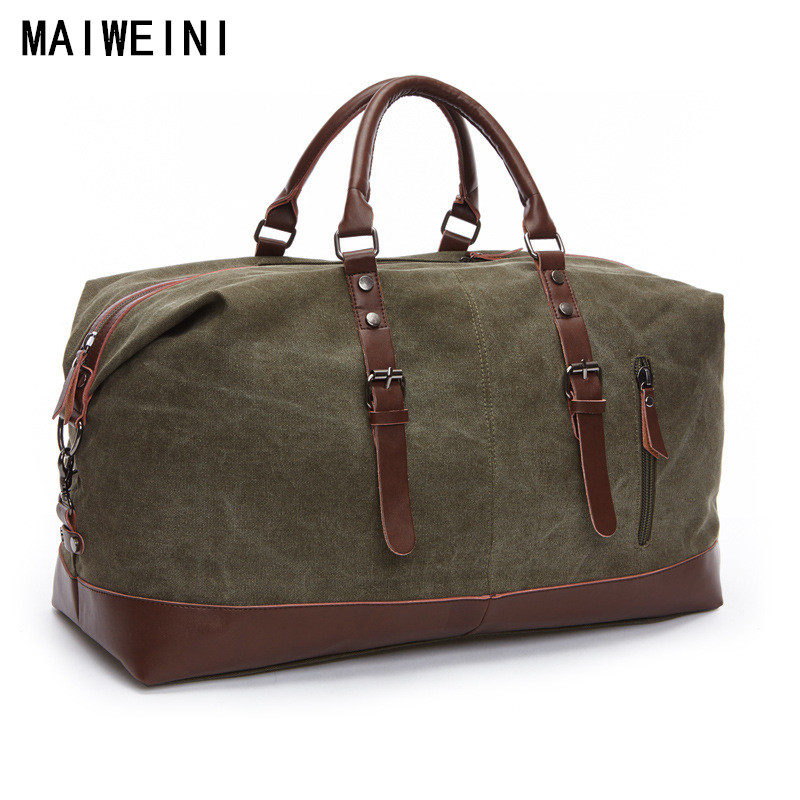 Fashion Canvas Leather Men Travel Bag Large Capacity Men Hand Luggage