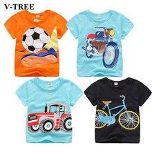V-TREE, летняя футболка для маленьких мальчиков, хлопковые топы с принтом автомобиля, футболки для мальчиков, детская верхняя одежда, топы для детей 2-8 лет