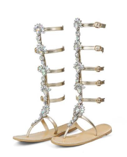 0c802f1d69ed2 BIG SIZE 34 44 Buckle Straps Flat Heel Sandals Woman Knee High Rhinestone  Gladiator Sandal Boot Bohemia Style Crystal Beach Shoe-in Women s Sandals  from ...