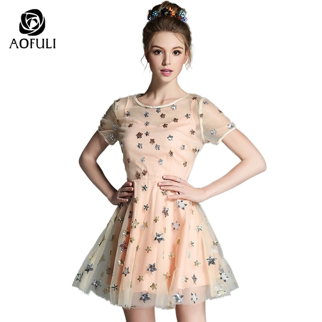 9cdd0ecfdb5 AOFULI Sequined Stars Big Size Tulle Dress Summer Sexy Party Dress  Champagne Fashion Mesh Mini Dress For Birthday Banquet A2141