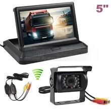 DIYKIT Wireless 5 polegada TFT LCD Dobrável Monitor de HD IR À Prova D' Água Visão noturna CCD Câmera de Visão Traseira Do Carro para o Caminhão Caravan Bus Van
