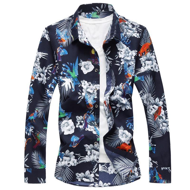 Mens Dress Shirts Floral Fashion Hawaiian Shirt Male Long sleeves Fashion Flower Blouse Men Summer