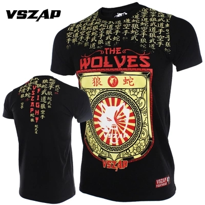 VSZAP Men Boxing Jersey Fitness MMA Short Sleeve Fight Wolf Muay Thai