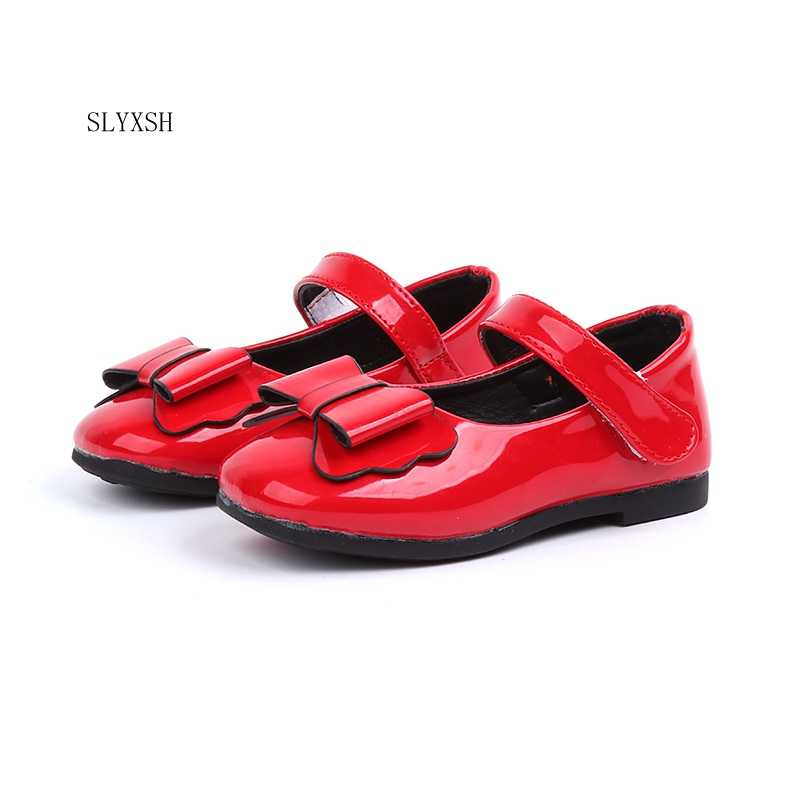 SLYXSH Girls Shoes Patent Leather With Bow-knot Sweet Kids Flats Children  Casual Shoes Princess 5c6922201c1b