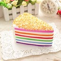 14 * 9 * 8cm Rainbow Triangular Cake Cellphone Straps Simulation PU Mobile Phone Pendant Slow Rebound Phone Hanging Ornaments