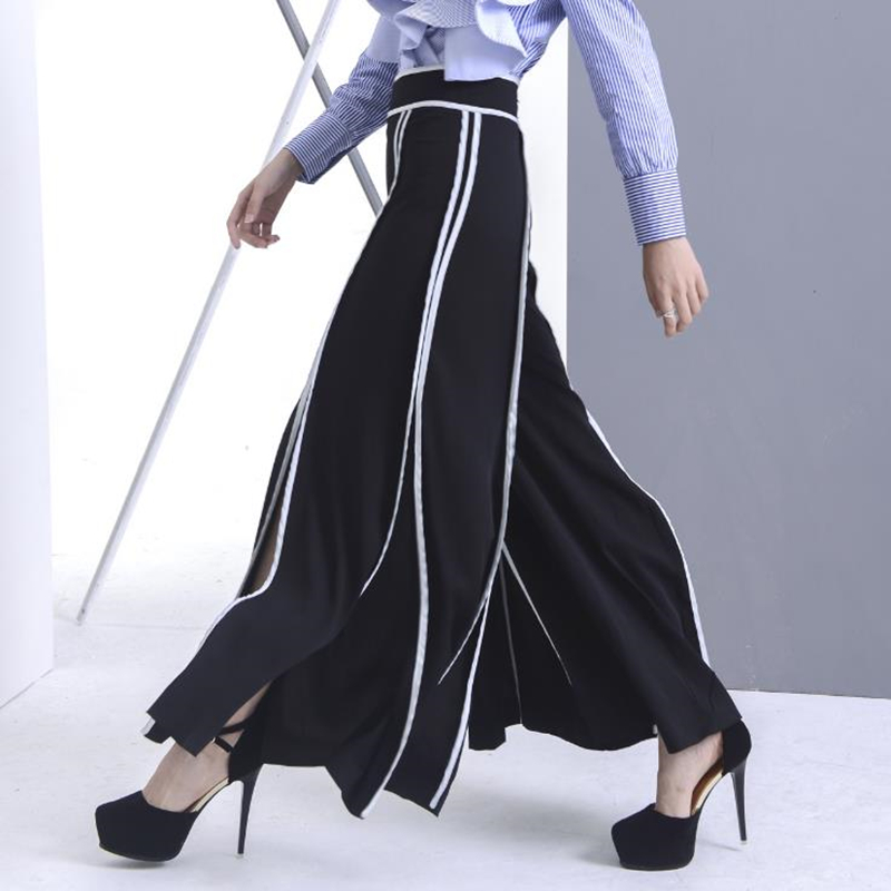 UNIQUEWHO Women Street Fashion Loose Wide Leg Pants Trousers High Waist Split Ethereal Casual Pants for Spring Summer Streetwear