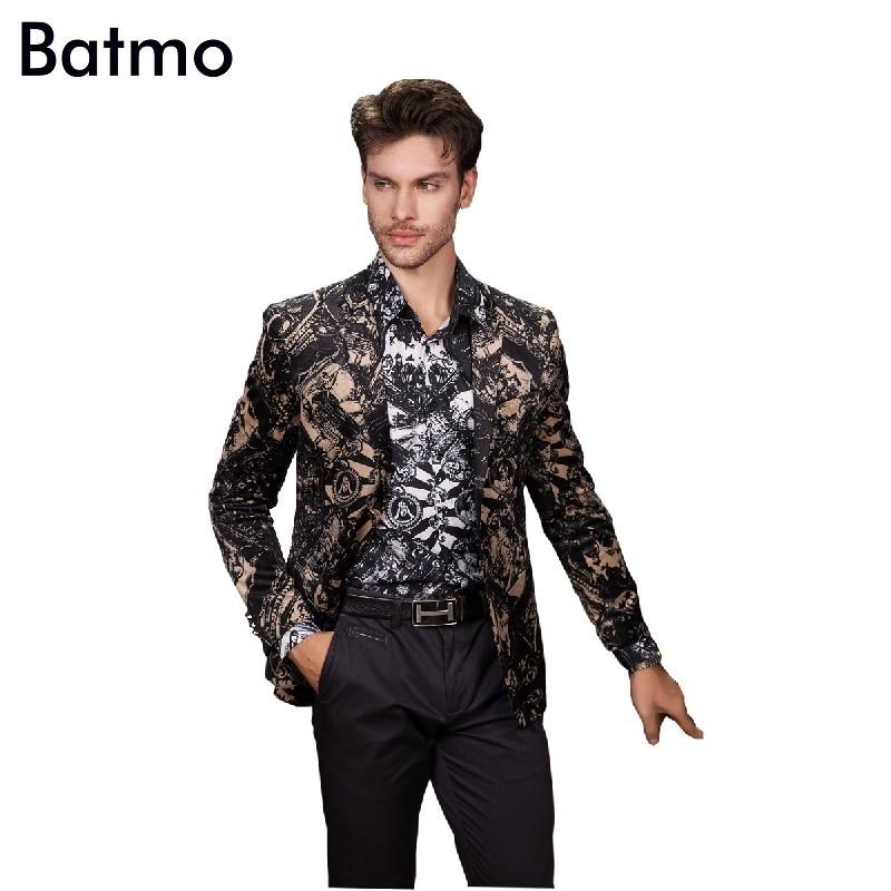55f16f6b6e 2017 New arrival moda aksamitne drukowane Blazer mężczyźni Marynarka Casual  Kluby Nocne męska kurtka Mężczyźni M