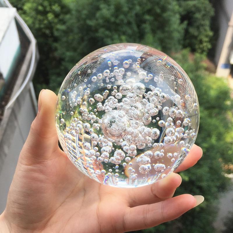Bola de cristal transparente de burbujas de 60mm, bola mágica de vidrio Feng Shui, globo de la buena suerte, adornos de oficina para decoración del hogar en miniatura 6 unids/lote atrapasoles de cristal Feng Shui prismas colgante péndulo colgante decoración de ventana 20mm