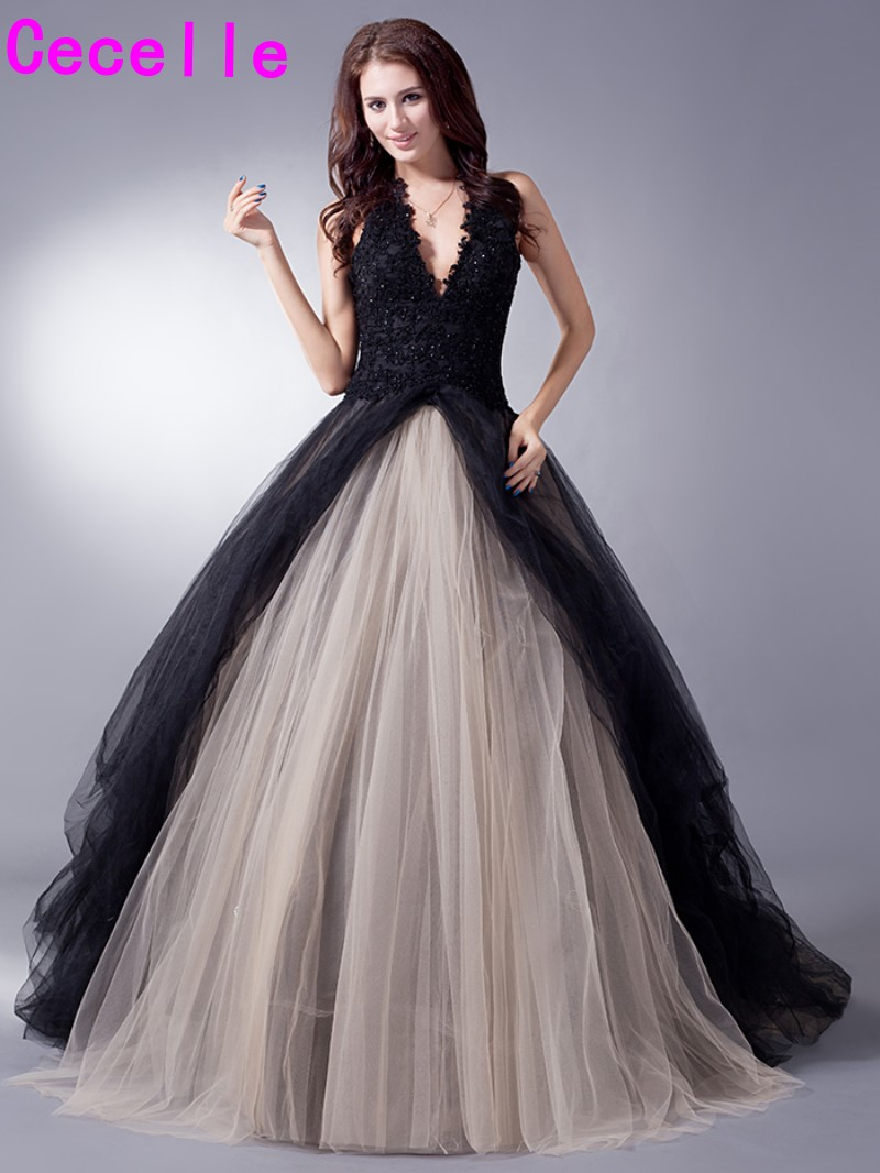 Gothic wedding shop - Black Nude Colorful Tulle Gothic Wedding Dresses With Color Non White Halter Bridal Gowns Non Traditional Robe De Mariee Real