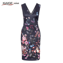 2017 Mini Fashion Leisure Summer Dress Personality Dresses Hot Sale Women Apparel High-Quality Printing V-Neck Sleeveless 1814