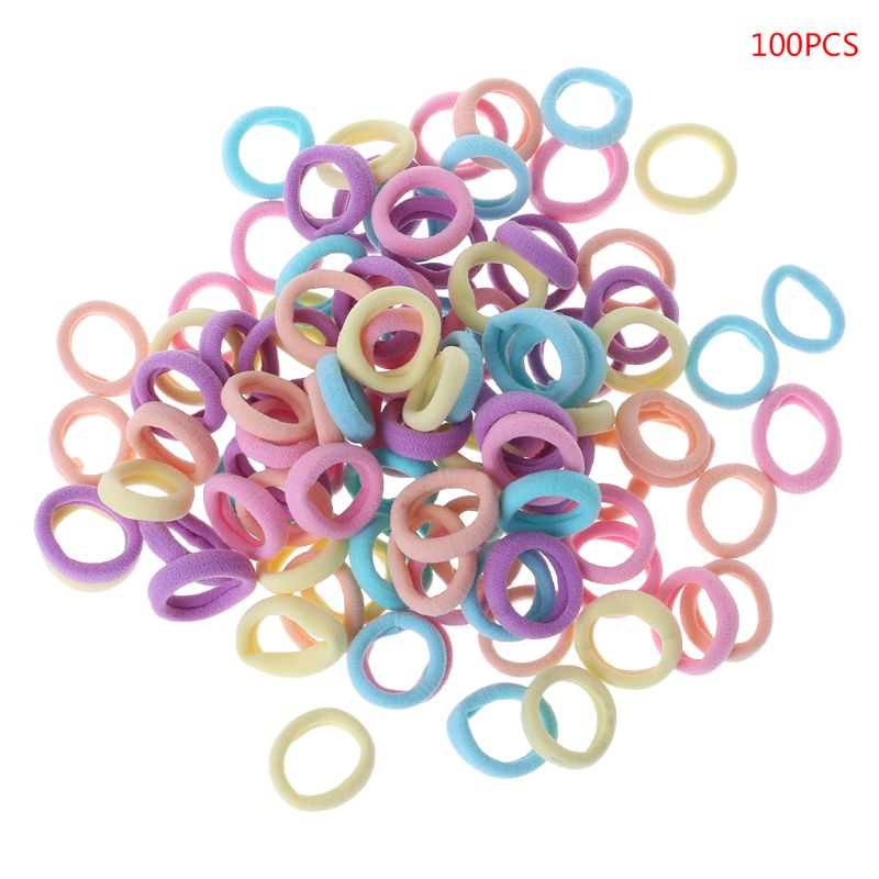 100 Pcs/Set Hair Band Girls Ponytail Elastic Soft Nylon Headband Headwear Candy Color Cute Fashion Accessories Children Rope
