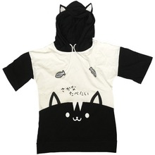 Summer Japanese Kawaii Female Gray T Shirts Soft Sister Cute Fashion Words Cat Embroidery Girls Tees Tops With Ear Caps T-shirt